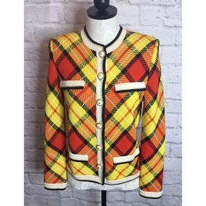 St John Plaid Santana Knit Jacket Blazer Small